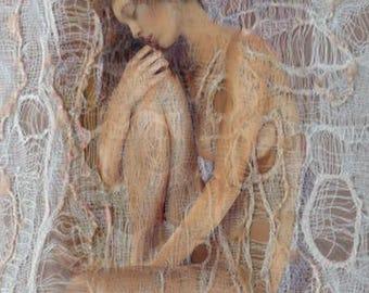 Beautiful Woman, Archival Print, Wall  Decor, Original Art, Gauze Veil, Nude, Home Decor, Contemplation