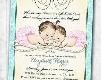 Vintage baby shower invitation for girl baby bath pink twin girls baby shower invitation for baby girls pink aqua vintage antique french baby shower filmwisefo Images