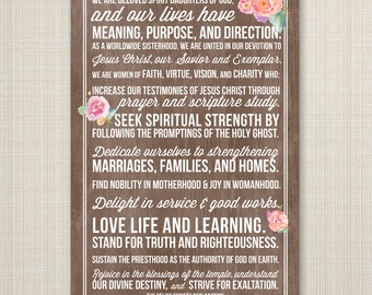 LDS Relief Society Declaration printable poster  - INSTANT DOWNLOAD