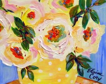 Polka Dot Vase  Original Painting canvas art 11 x 14 Art by Elaine Cory