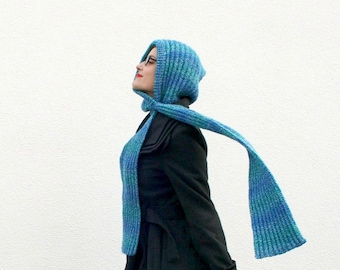 Knit Hooded Scarf, Scarf with Hood, Blue Scoodie, Hand Knitted Hood Scarf, Winter Fashion, Womens Accessories Fall, Unique Gift for Her
