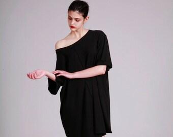 Black T Shirt, Oversized T Dress, Pluse Size Tunic, Short Summer Dress, Short Sleeve Dress, Black, Minimalist, Casual
