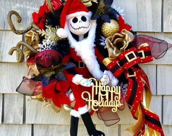 Nightmare Before Christmas Wreath, Jack Skellington Wreath, Black, Red and Gold