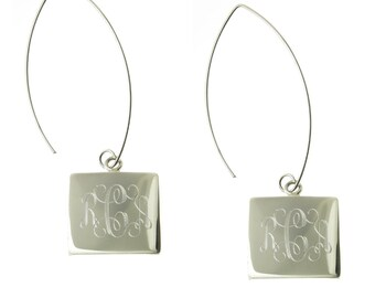 925 Sterling Silver Square Monogram Personalized Dangle Earrings