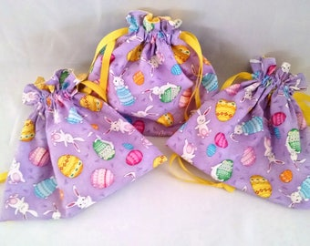 Easter drawstring gift bags, candy and treat pouch, goodie party favor handouts, girls handbag, gift for children at family celebrations