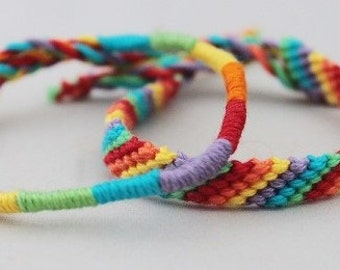 Rainbow friendship bracelet set, colourful knotted macramé bracelets