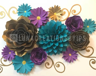 Paper flower collage wall