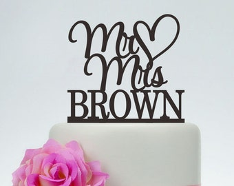 Wedding Cake Topper,Mr And Mrs Cake Topper With Surname And Heart,Custom Cake Topper,Unique Cake Topper C100