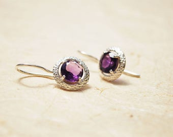 Meaningful Personalized Gift For Her - Small Sterling Silver Dangle Earrings, Unqiue Amethyst Dangle Earrings, February Birthstone Jewelry