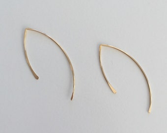 14 Karat Gold Filled or Rose Gold or Sterling Silver Modern Hoop Earrings Classic Hand Formed Hammered Open Hoop Wishbone Shape Handmade Cla
