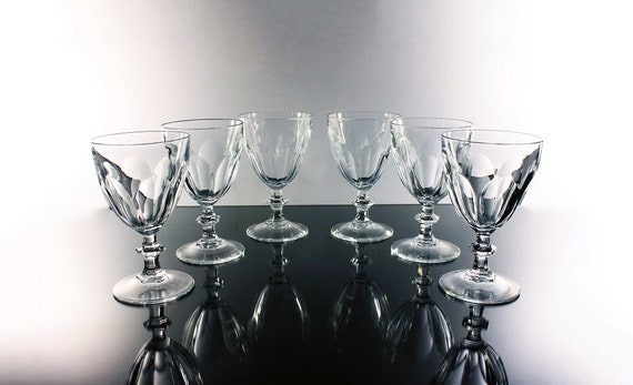 Crystal Wine Glasses, Cristal D'Arques-Durand, Rambouillet, Set of 6, Paneled Sides, Discontinued, Barware