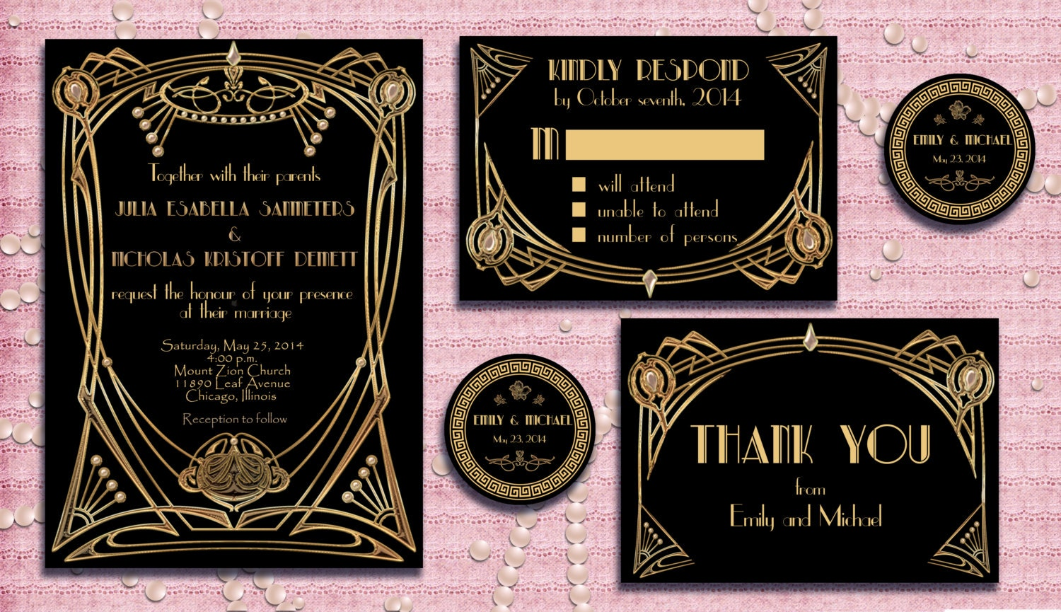Great gatsby style art deco wedding invitation suite with rsvp zoom stopboris Images