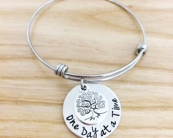 one day at a time, sobriety bracelet, addiction recovery, one day at a time jewelry, tree of life bracelet, hand stamped jewelry gift