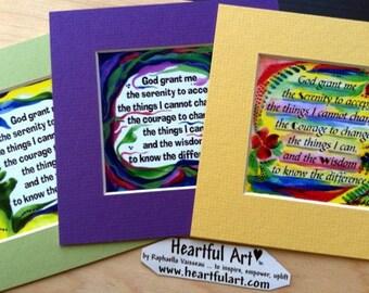 God Grant Me SERENITY PRAYER 5x5 Inspirational Sobriety Gift Motivational AA Spiritual Meditation 12 step Heartful Art by Raphaella Vaisseau