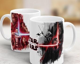 Star Wars Mug, Last Jedi Mug, Star Wars Gift, Rey and Kylo Ren Mug includes Princess Leia and Luke Skywalker. Star Wars Episode 8