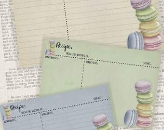 4x6 Printable Recipe Cards, Pastel Macarons, Gifts for Cooks, Kitchen Printables - Instant Download Digital Cooking Printable Project Kit