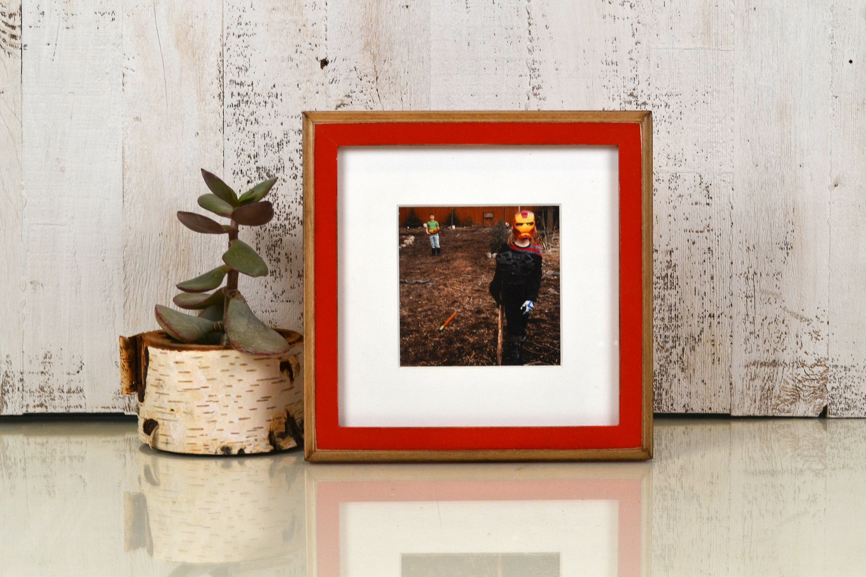 8x8 Square Picture Frame in 1x1 2-Tone Style and Vintage Finish ...