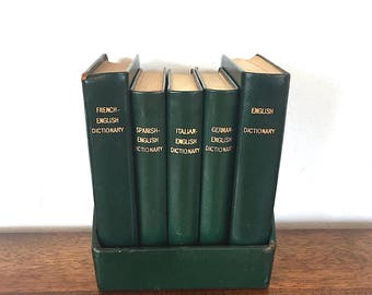 Vintage Dictionary Set - Vintage Leather Bound Dictionaries - Vintage Desk Decor - Library Decor - Vintage Study Decor - Masculine Decor