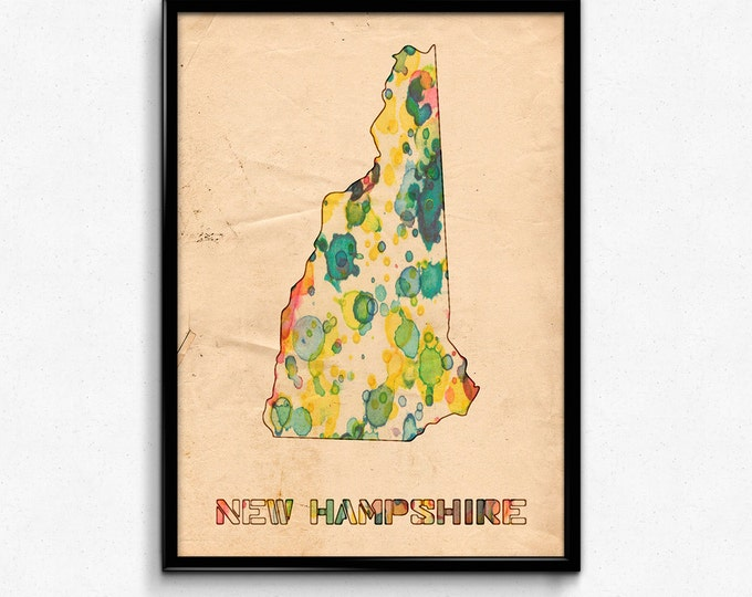 New Hampshire Map Poster Watercolor Print - Fine Art Digital Painting, Multiple Sizes - 12x18 to 24x36 - Vintage Paper Colors Style