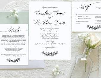 Simple Wedding Invitation, Printable Modern Calligraphy Wedding Invite, RSVP, Details, Instant Download, 100% Editable Template, DIY #034