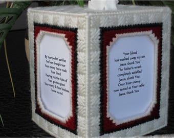 CUSTOM Tissue box cover Bank with Christian song, Jesus Thank You,  yarn plastic canvas