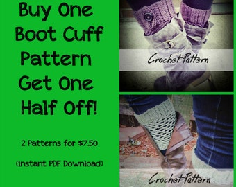 CROCHET PATTERN BUNDLE: Boot Cuff Crochet Pattern, Boot Topper Pattern, Boot Cuff Pattern