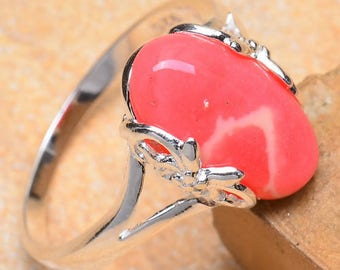 Rhodochrosite Elongated Oval Cabochon in Scroll-Design Sterling Silver Ring in Size 5.5 - a master balancing crystal