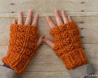 Soft Wool Chunky Knit Fingerless Gloves Hand Warmers Texting Gloves - Orange - Ready to Ship