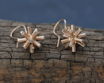 Rose Gold Diamond Earrings - 18K Gold Diamond Spiky Earrings - Rose Gold Drop Earrings - Spiky Dangle Earrings - Free Shipping