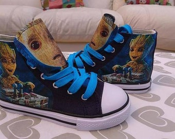 Custom Canvas Shoes Groot Galaxy Sneakers Pumps Personalised High Tops