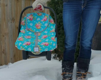 Winter Carseat Cover Igloo Carseat Cover-Teal Floral with Grey Minkee & Trim