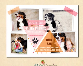 INSTANT DOWNLOAD Pets Mini Session template - MA093