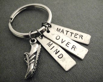 MIND OVER MATTER Running Shoe Key Chain - Ball Chain or Key Ring - Run with Mind Over Matter Key Chain / Bag Tag - Motivational Key Chain