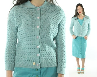 60s NOS Cardigan Sweater Blue Acrylic Knit Button Up Collared Vintage 1960s Medium M Rockabilly Pinup Spring Pastel