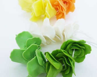 Miniature Polymer Clay Roses Handcrafted Flowers Beads, 20 pcs.