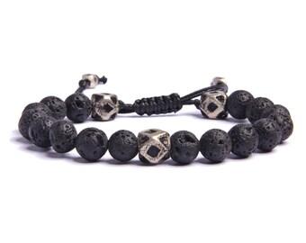 Men's Lava Stone Bracelet - Men's black and silver bracelet - Jewelry for Men - Men's Bracelets - Men's Adjustable bracelets - For him