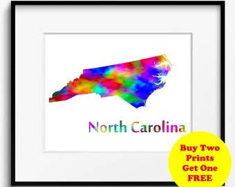North Carolina State Map Watercolor Art Print (095)
