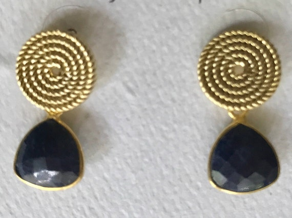 "Sapphire Earrings, Sapphire & Gold Post Earrings, Dangle Earrings, 24K Gold Plated Bezel, 925 Sterling Silver Backs, 7/8"" long"