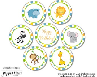 Safari Cupcake Toppers for Birthday with Safari Animals - Birthday Thank You - 2 inch circles or 2.25 inch squares - Safari045
