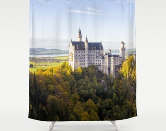Neuschwanstein Shower Curtain Castle Shower Curtain Photo Curtain Nature Curtain Autumn Curtain Forest Curtain Castle Curtain Yellow Curtain