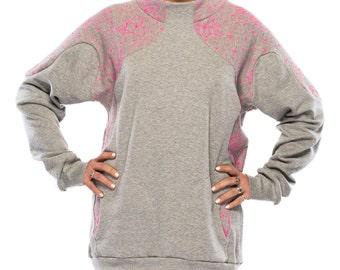 Geo Pop Sweatshirt - WAS 139 NOW 89 - grey, printed sweater, heart print,  over sized top, winter sweatshirt, mandarin collar pullover cotton