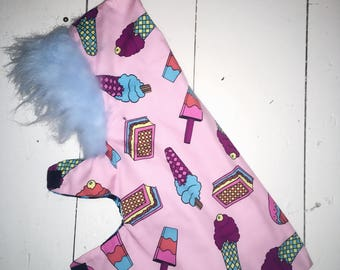 Candy fur hooded dog coat jacket