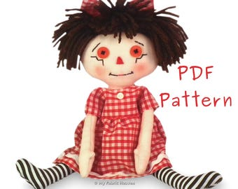 Cute Sarah Rag Doll PDF Sewing PATTERN With Easy To Follow Instructions 10 Inch Doll
