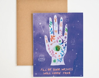 Tarot Cards, Birthday Wishes, Palm Reading, Birthday Gifts, Watercolor Painting, Gift for Her, Art Print, Magic Candles, Meera Lee Patel