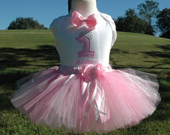 1st  birthday tutu outfit, Silver Pink Baby Girls 1st Birthday Tutu Outfit, handcut and sewn at the waist, available in all colors