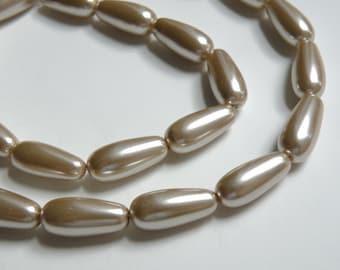 Honey Beige glass pearl teardrop pendant bead 17x8mm full strand 7872GB