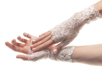 Wedding Gloves White Lace Gloves Lace Wedding Gloves Fingerless Gloves Bridal Lace Mittens Bridal Gloves Bridal Cuff Bridal Dress Jewelry