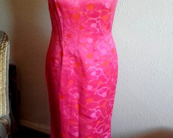 Vintage 60's Pink long Polynesian style Tiki pin up Wiggle Dress
