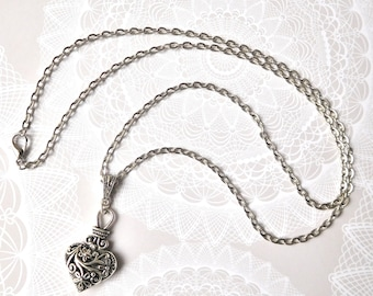 Vintage Style Filigree Heart Pendant on a 24 inch long silver chain necklace.  Valentines Day Gift!  Any Day Gift!