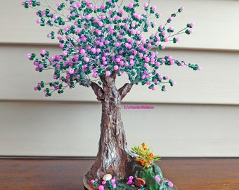Rose and Emerald Beaded Bonsai Wire Tree, Wire Tree Sculpture, Housewarming Gift, Wedding Gift, Home and Office Decor